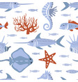 sea creatures seamless pattern underwater life vector image vector image