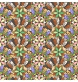 Seamless pattern of feathers leafs and flowers vector image