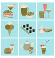 Set icons in flat design street food vector image