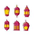 set ramadan lantern line art for your designs vector image