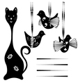 Silhouette cat and bird vector image