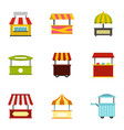 street food truck icon set flat style vector image vector image