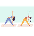 two women practicing yoga together group women vector image