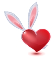 Valentines Day symbol Fluffy bunny ears and red vector image vector image