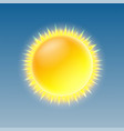 weather icon with shiny sun on blue sky vector image vector image