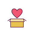 yellow cardboard box with red heart icon or vector image
