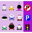 Set of various city traffic vehicles icons vector image