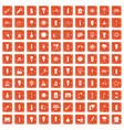 100 light source icons set grunge orange vector image vector image