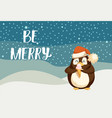 be merry greeting card with cute arctic penguin vector image vector image