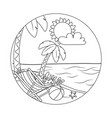 Beach cartoon round label in black and white