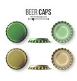 beer cap colorful bottle caps mock up vector image vector image