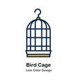 bird cage line color icon vector image vector image