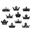 Black heraldic crowns set vector image vector image