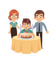 boy and birthday cake celebration party vector image