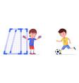 boy soccer player kicks ball in football goal vector image vector image