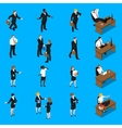 Business People Work Isometric Icons Set vector image