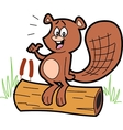 Cartoon Beaver On Log vector image vector image
