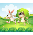 cartoon cat bunny vector image vector image