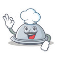 chef tray character cartoon style vector image