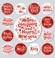 christmas new year gift round stickers labels vector image vector image