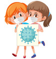 coronavirus cell on board with two girls wearing vector image vector image