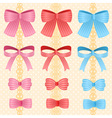 cute silky or satin striped ribbon or bow for vector image