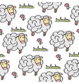 doodle seamless pattern with sheep vector image