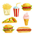 fast food lunch meal with dessert watercolor set vector image