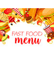 fast food restaurant menu with burger and drink vector image vector image