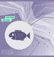 fish icon on purple abstract modern background vector image vector image