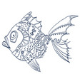 fish with mechanical parts body hand drawn vector image vector image