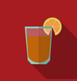 glass of tequila with lime slice flat style vector image
