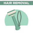 hair removal promotinal banner with shaver and vector image