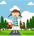 happy girl with baskets full of food in park vector image vector image