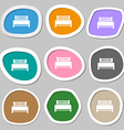 Hotel bed icon sign Multicolored paper stickers vector image vector image