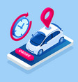 isometric car rental concept selling leasing or vector image