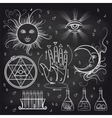 Isoteric and alchemy elements on chalkboard vector image vector image