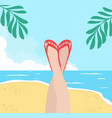 legs of woman with summer beach vector image