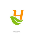 letter h with leaf logo design concept initial h vector image vector image