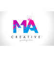 ma m a letter logo with shattered broken blue vector image vector image