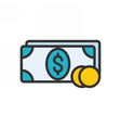 Money outline icon vector image vector image