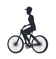 person riding bike monochrome silhouette side vew vector image