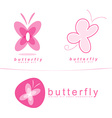 Pink butterfly icon logo vector image vector image