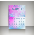 Polygonal 2016 calendar design for MARCH vector image vector image