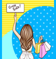 pop art girl holds sign and shopping bags vector image vector image