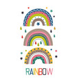 poster with three colorful rainbows vector image vector image