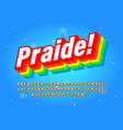 pride font six colour rainbow typeface intended vector image vector image