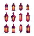ramadan kareem flat style background lantern vector image