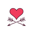 red heart with two arrows creative icon or vector image