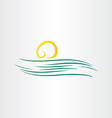 river and sun symbol vector image vector image